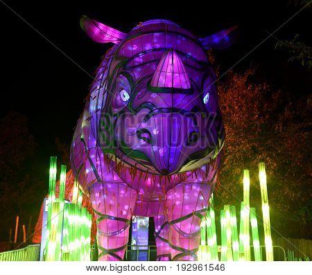 Sydney Australia - Jun 16 2017. Sumatran Rhino Rhinoceros. Giant multimedia light sculptures in the stunning grounds of Taronga Zoo during Vivid Sydney Lights Festival.