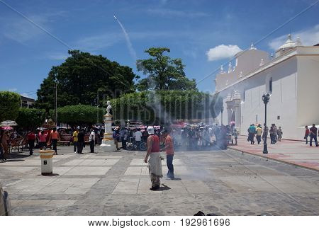 24Th September 2014, Leon, Nicaragua - Men Set Off Fireworks In The Street To Celebrate The Festival