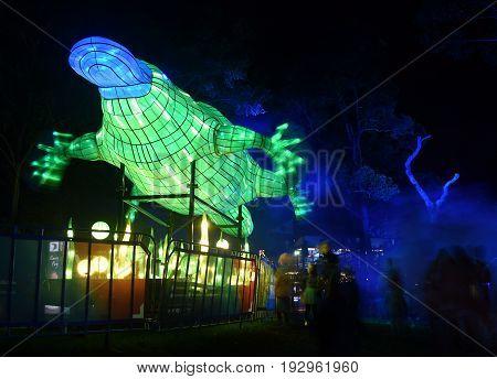 Sydney Australia - Jun 16 2017. Platypus. Giant multimedia light sculptures in the stunning grounds of Taronga Zoo during Vivid Sydney Lights Festival.