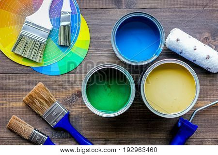 Set of tools for painting on wooden table background top view.