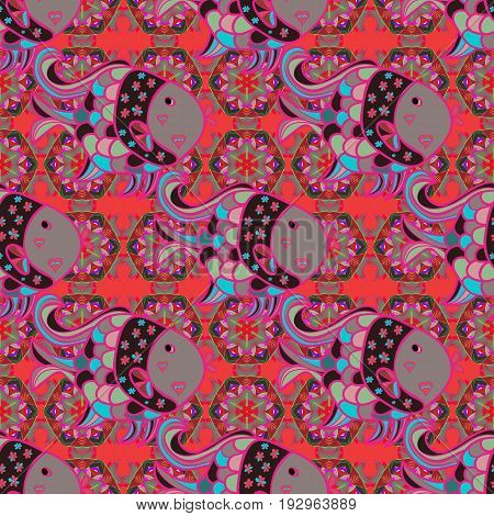 Seamless pattern with floral motif. Seamless floral pattern with pink flowers watercolor. Vector flower illustration.