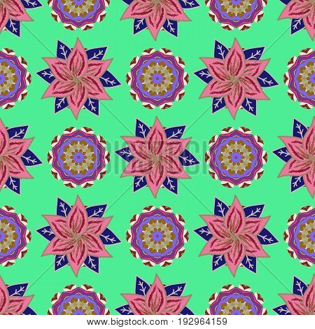 Vector abstract flower background. Pretty floral print with small flowers. Motley seamless pattern.