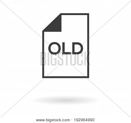 Icon For File With Old Text, Black Silhouette On White Background With Shadow