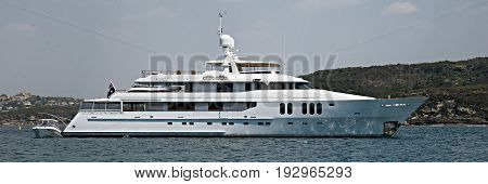 A fully equipped Australian 45 meter 90 ton plus luxury cruising motor super yacht anchored in Sydney's North Harbour. 2013