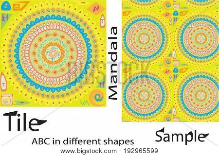 Rich shapes Tile Ornament from colorful mandalas. Seamless pattern in oriental style. Square tile patchwork design. Intricate tile pattern. Boho chic tile pattern for fabric furniture wall paper. with latest alphabetic idea into antique mandala structure.