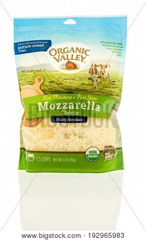 Winneconne WI -22 June 2017: A bag of Organic Valley shredded mozzarella cheese on an isolated background