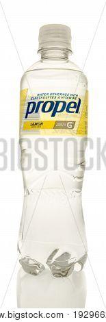 Winneconne WI -22 June 2017: A bottle of Propel water in lemon flavor on an isolated background