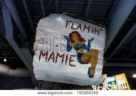 Oshkosh WI - 3 March 2017: A piece of nose art from WWII aircraft featuring Flamin' Mamie