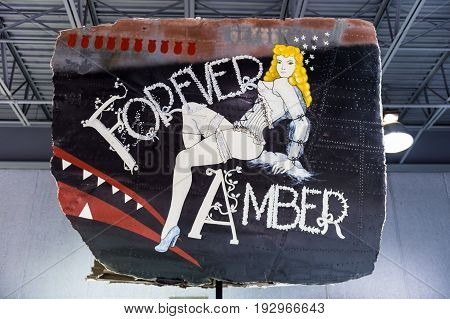 Oshkosh WI - 3 March 2017: A piece of nose art from WWII aircraft featuring Forever Amber