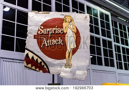 Oshkosh WI - 3 March 2017: A piece of nose art from WWII aircraft featuring Surprise Attack