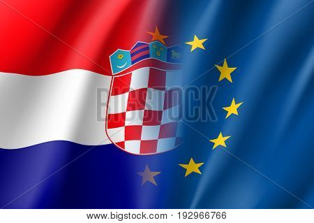 Symbol of Croatia is EU member. European Union sign with twelve gold stars on blue and Croatia national flag. Vector isolated icon