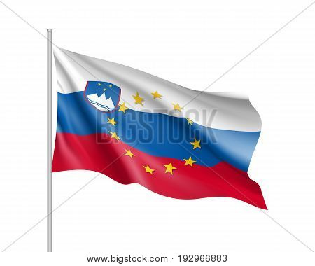 Slovenia national waving flag with a circle of European Union twelve gold stars, identity and unity with EU, member since 1 May 2004. Realistic vector illustration