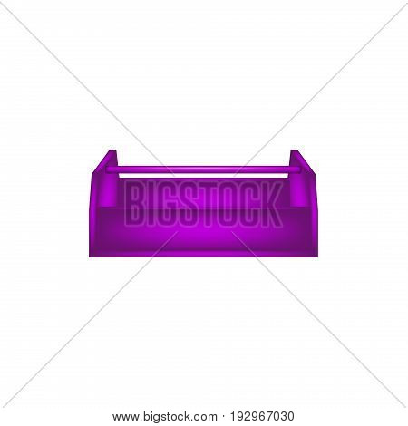 Empty wooden toolbox in purple design on white background