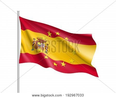 Spain national waving flag with a circle of European Union twelve gold stars, solidarity and harmony with EU, member since 1 January 1986.Realistic vector illustration