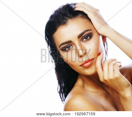 young pretty woman with hands on face isolated on white background, stylish fashion healthcare people concept close up