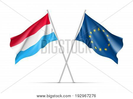 Luxembourg and European Union waving flags on flagpole. EU sign with twelve gold stars on blue and Luxembourg national symbol red, white and blue colors. Two flags isolated on white background