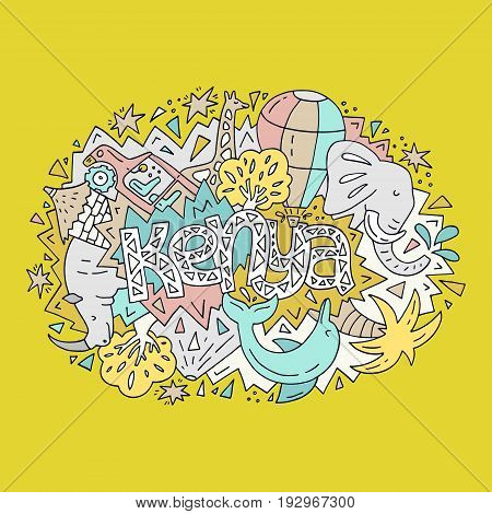The vector illustration Kenya word and the and bright animals and objects symbolizing the country.