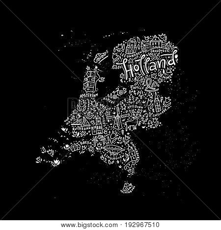 Hand drawn map of Holland. Cartoon illustration made in vector