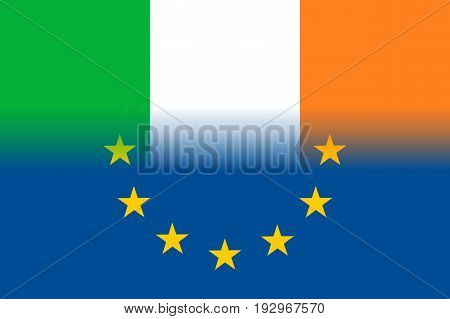 Ireland national flag with a flag of European Union twelve gold stars, solidarity and harmony with EU, member since 1 January 1973. Vector flat style illustration