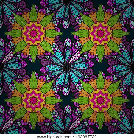 Pretty floral print with small flowers. Motley seamless pattern. Vector abstract flower background.