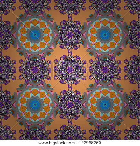 Flower Mandala seamless pattern. Vector Ethnic Oriental Circle Ornament. Islam Arabic Indian ottoman motifs on a background.
