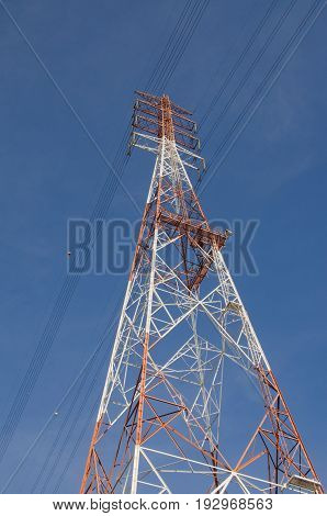 The high-voltage tower in the sky background