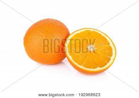 whole and half cut navel orange on white background