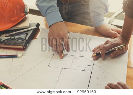 Engineer And Architect Concept, Engineer Architects Office Team Working With Blueprints, Vintage Eff