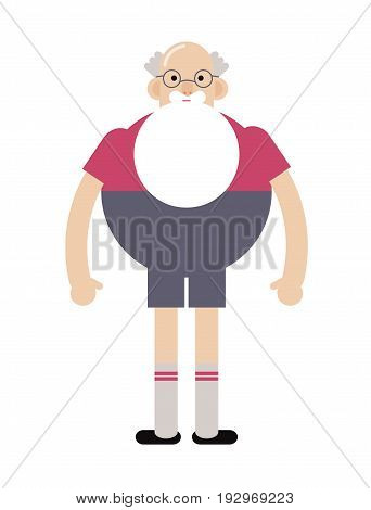 Grandpa hipster in glasses, with a beard. Flat vector illustration.Funny grandfather
