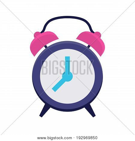 Clock flat icon. Classic alarm clock. Time, morning, hour or minute symbol. Web and mobile design element. Flat internet icon in cartoon style. Vector colored illustration isolated on white background