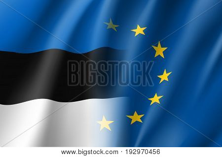 Symbol of Estonia is EU member. European Union sign with twelve gold stars on blue and Estonia national flag. Vector isolated icon