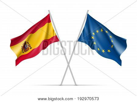 Spain and European Union waving flags on flagpole. EU sign with twelve gold stars on blue and Spain national symbol red and yellow colors. Two flags isolated on white background