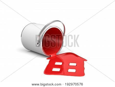 3d rendering of a red paint bucket lying on its side with paint leaking out and made house shape. Renovation and design. Interior. Building supplies.