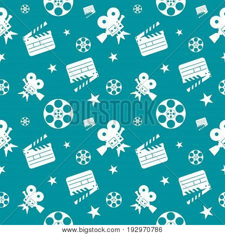 Cinema Seamless Pattern Blue White