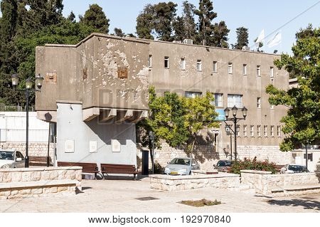 The building in the city of Safed (Tzfat) with traces of bullets and shells that have been left since the Independence war 1948 of Israel