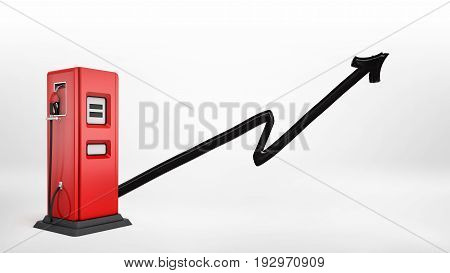 3d rendering of a red gas pump with a nozzle attached in side view on white background with a black paint brushed arrow pointing up. Growing market. Oil and gas prices. Profitable venture.