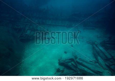 Shipwreck in deep caribbean sea. Glass bottom tour in Grand Cayman