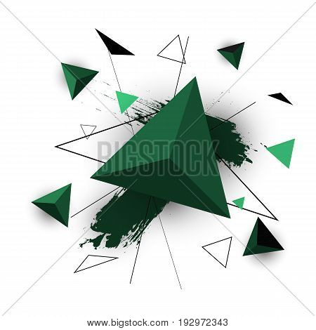 Green triangle abstract on white background, stock vector