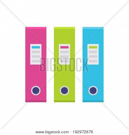 Ring binder in a row, file folder in pink, green, purple and blue color, office supply set. Vector flat style cartoon illustration isolated on white background. Business concept