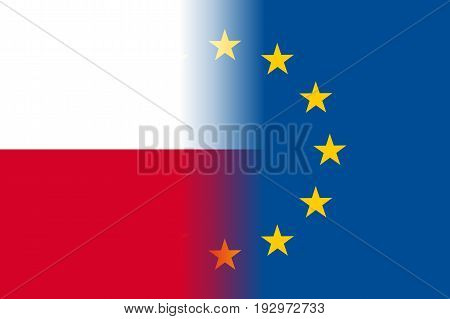 Poland national flag with a flag of European Union twelve gold stars, symbol of unity with EU, member since 1 May 2004. Vector flat style illustration