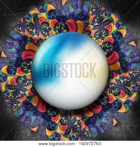 3D render of colorful plastic fractal colorful flower disc embossed on leather with glossy color gradient button