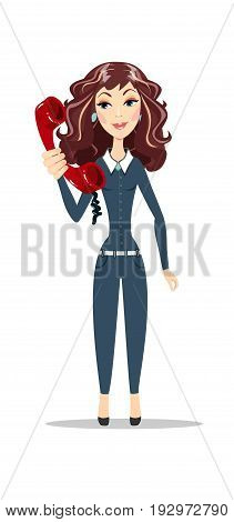 Pretty Brunette Caucasian Woman With Blue Eyes, Smiling And Talking On A Phone. Stock vector illustration