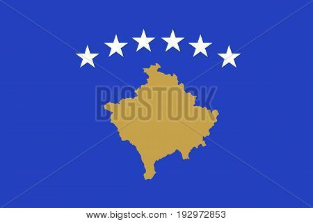 The flag of the Republic of Kosovo, partially recognised state in Southeastern Europe, blue field with a map in gold, surmounted by six white stars, in the centre. Vector flat style illustration