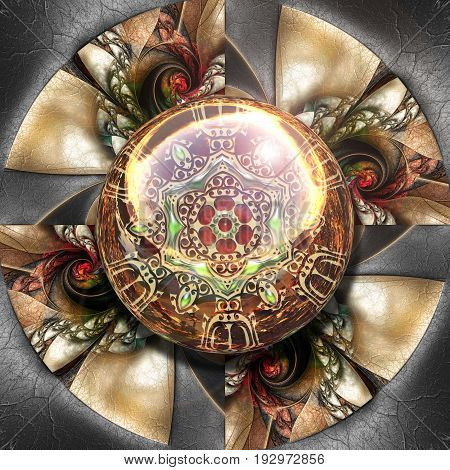 3D render of colorful plastic fractal flower disc embossed on leather with glossy gold ornament button