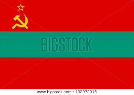 Transnistria, the Pridnestrovian Moldavian Republic flag, three horizontal bands of red, green and red, with a hammer and sickle in the canton. Vector flat style illustration
