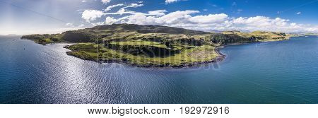 Aerial view of the Island Kerrera, Oban, Argyll, Scotland
