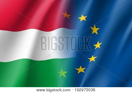 Symbol of Hungary is EU member. European Union sign with twelve gold stars on blue and Hungary national flag. Vector isolated icon