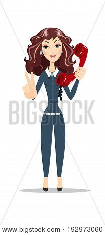 Pretty Brunette Caucasian Woman With Blue Eyes, Smiling And Talking On A Phone and showing victory sign. Stock vector illustration