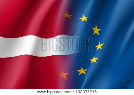 Symbol of Latvia is EU member. European Union sign with twelve gold stars on blue and Latvia national flag. Vector isolated icon