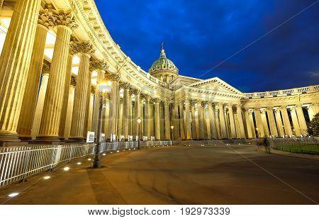 Night scene of Kazan (Kazanskiy) Cathedral in Saint-Petersburg. Russia. Located on Nevsky Prospekt in the center of the city.
